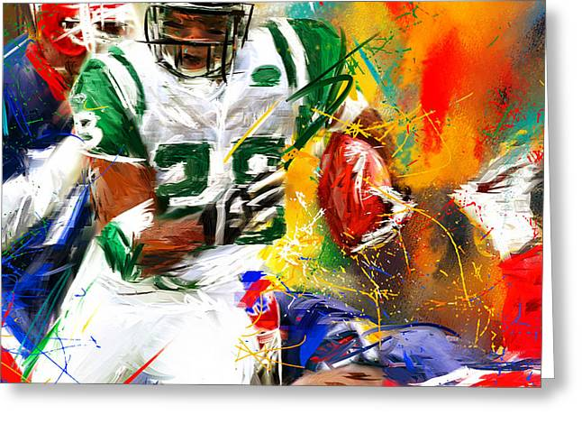 Curtis Martin New York Jets Greeting Card by Lourry Legarde