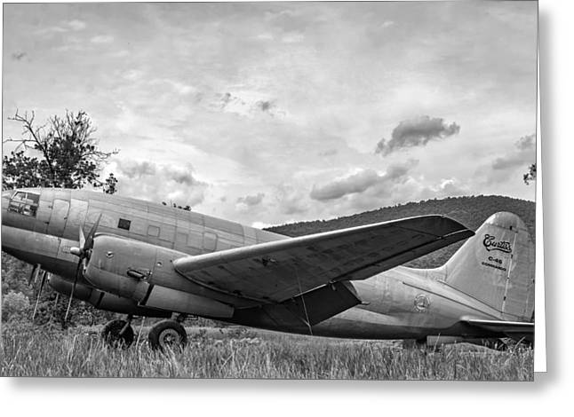 Military Airplanes Greeting Cards - Curtiss C-46 Commando - bw Greeting Card by Steve Harrington