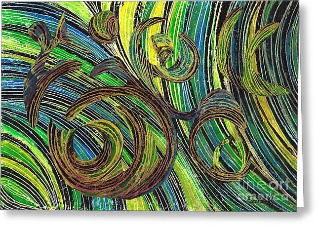 Green And Yellow Abstract Greeting Cards - Curved Lines 4 Greeting Card by Sarah Loft