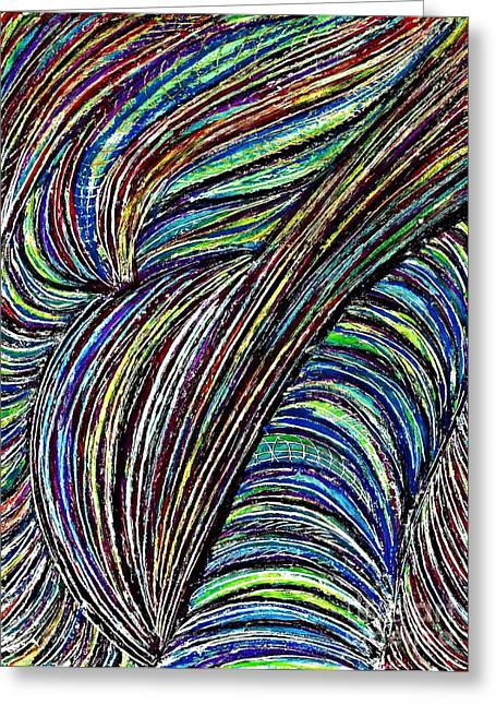 Green Abstract Drawings Greeting Cards - Curved Lines 7 Greeting Card by Sarah Loft