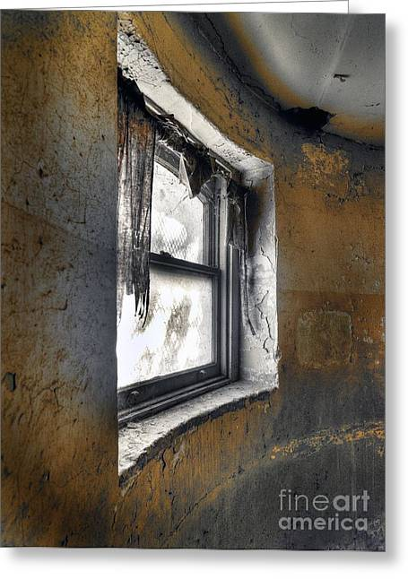 Interpretive Greeting Cards - Curved Wall Window Greeting Card by Norman  Andrus
