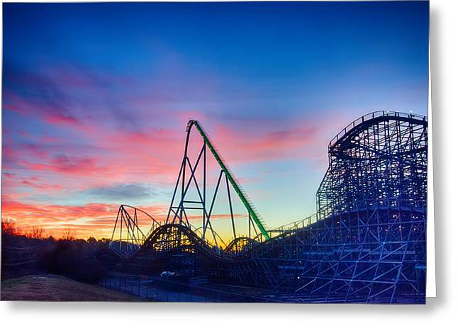 Charlotte Greeting Cards - curves of a roller Coaster at Sunset or sunrise Greeting Card by Alexandr Grichenko