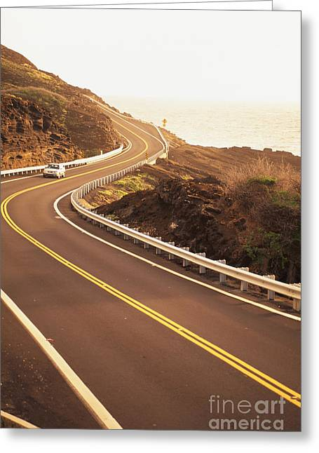 Paradise Road Greeting Cards - Curvy Oahu Road Greeting Card by Dana Edmunds - Printscapes