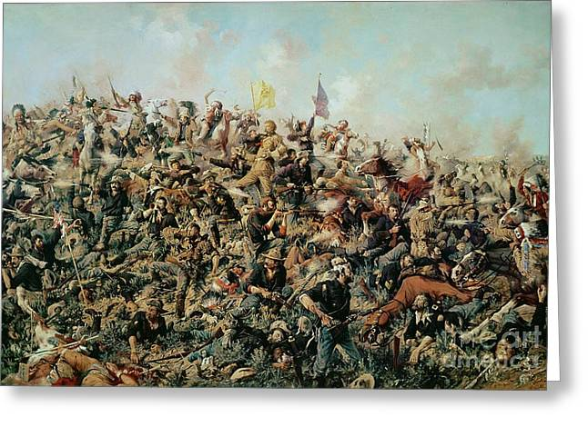 Troops Greeting Cards - Custers Last Stand Greeting Card by Edgar Samuel Paxson