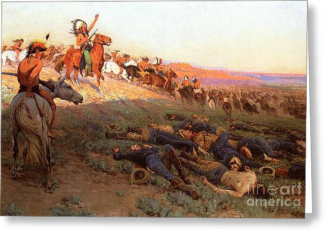 Bighorn Greeting Cards - Custers Last Stand Greeting Card by Richard Lorenz