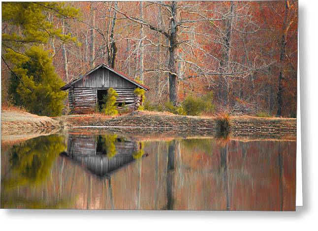 Reflection On Pond Greeting Cards - Custom Crop - Cabin by the Lake Greeting Card by Shelby  Young