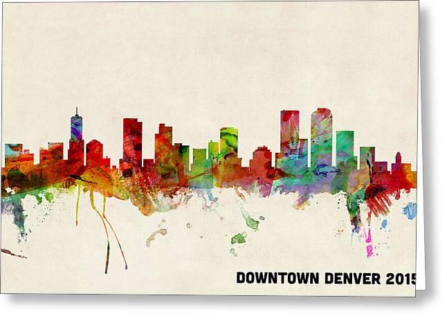 Custom Greeting Cards - Custom Denver Skyline 2015 Greeting Card by Michael Tompsett