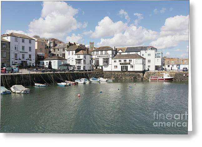 Custom House Quay And Falmouth Parish Church Greeting Card by Terri Waters