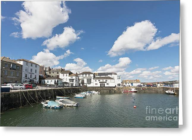 Custom House Quay Falmouth Cornwall Greeting Card by Terri Waters