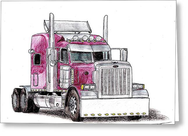 Veteran Drawings Greeting Cards - Custom Peterbilt Truck Cab Greeting Card by Dan Poll