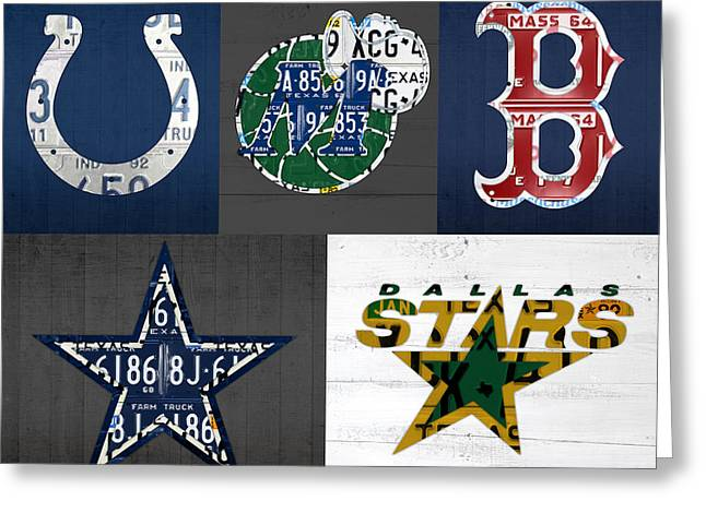 Sport Teams Greeting Cards - Custom Sports Team License Plate Art Combo Print No 001 Greeting Card by Design Turnpike