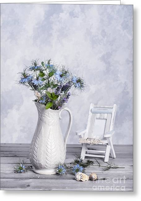 Deckchair Greeting Cards - Cut Cornflowers Greeting Card by Amanda And Christopher Elwell