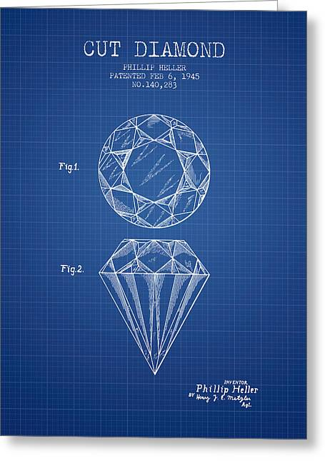 Diamond Ring Greeting Cards - Cut Diamond Patent From 1873 - Blueprint Greeting Card by Aged Pixel
