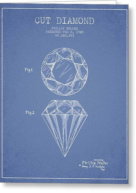 Cut Diamond Patent From 1873 - Light Blue Greeting Card by Aged Pixel