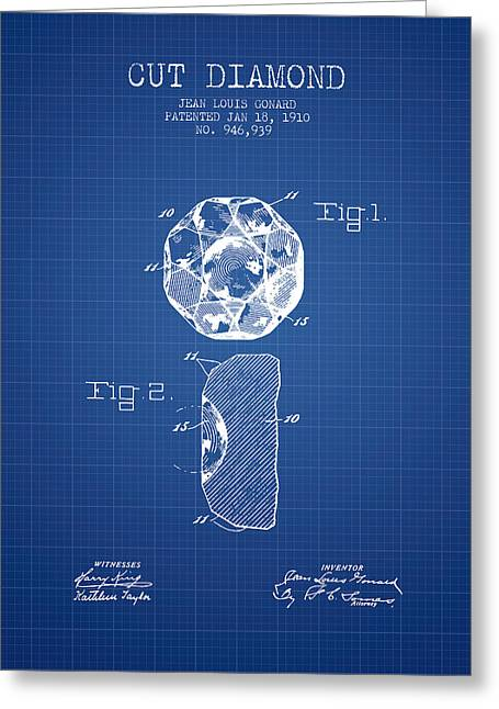 Diamond Digital Greeting Cards - Cut Diamond Patent From 1910 - Blueprint Greeting Card by Aged Pixel
