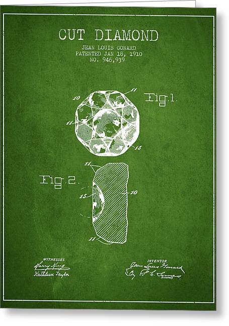 Diamond Digital Greeting Cards - Cut Diamond Patent From 1910 - Green Greeting Card by Aged Pixel