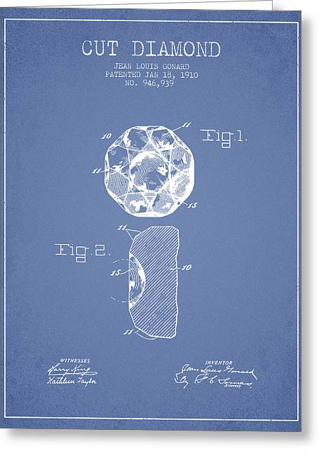 Diamond Digital Greeting Cards - Cut Diamond Patent From 1910 - Light Blue Greeting Card by Aged Pixel