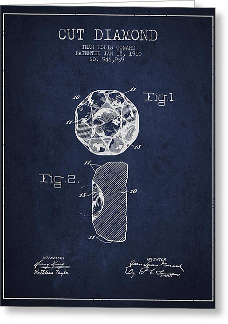 Bracelet Greeting Cards - Cut Diamond Patent From 1910 - Navy Blue Greeting Card by Aged Pixel