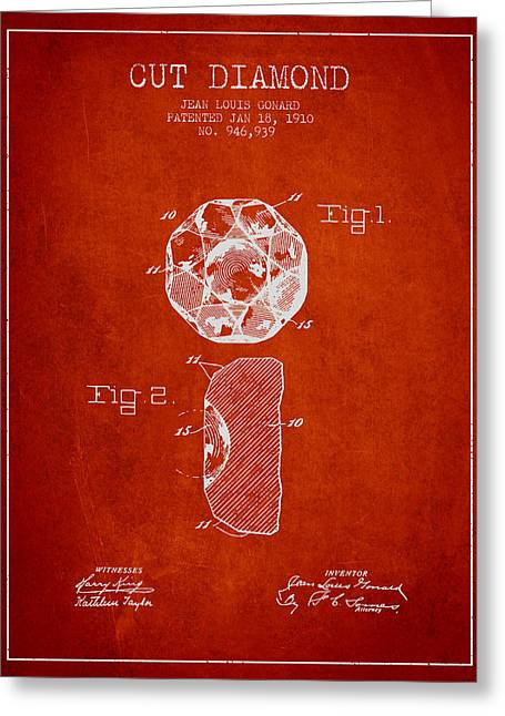 Gemstone Greeting Cards - Cut Diamond Patent From 1910 - Red Greeting Card by Aged Pixel