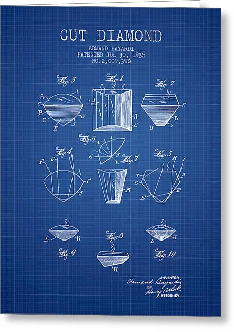 Diamond Ring Greeting Cards - Cut Diamond Patent From 1935 - Blueprint Greeting Card by Aged Pixel