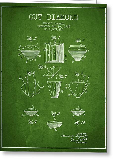 Cut Diamond Patent From 1935 - Green Greeting Card by Aged Pixel