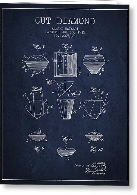 Cut Diamond Patent From 1935 - Navy Blue Greeting Card by Aged Pixel