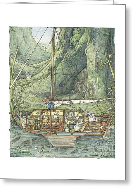 Cutaway Of Dustys Boat Greeting Card by Brambly Hedge