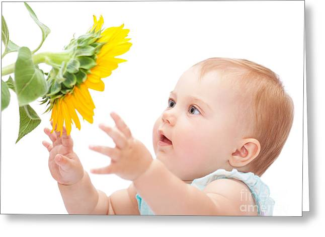 Nature Study Greeting Cards - Cute baby with sunflower Greeting Card by Anna Omelchenko