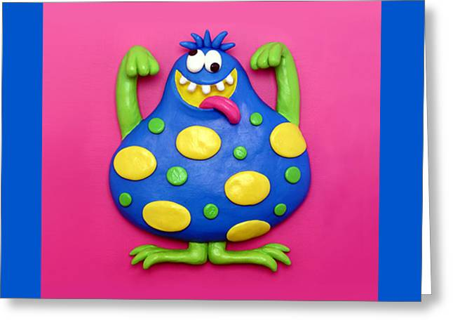 Cute Blue Monster Greeting Card by Amy Vangsgard
