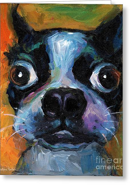 Funny Drawings Greeting Cards - Cute Boston Terrier puppy art Greeting Card by Svetlana Novikova