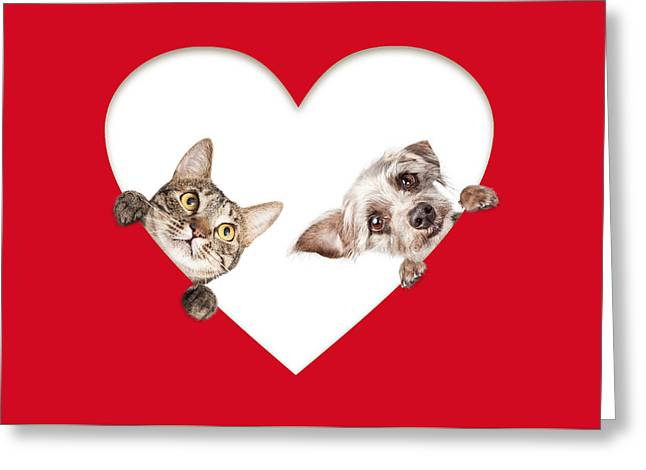 Cute Cat And Dog Peeking Out Of Cutout Heart Greeting Card by Susan Schmitz