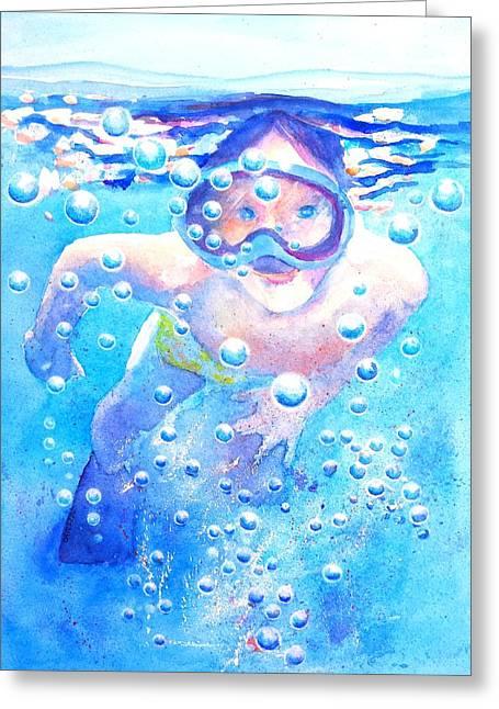 Snorkel Greeting Cards - Cute Child Snorkeling Underwater Greeting Card by Carlin Blahnik