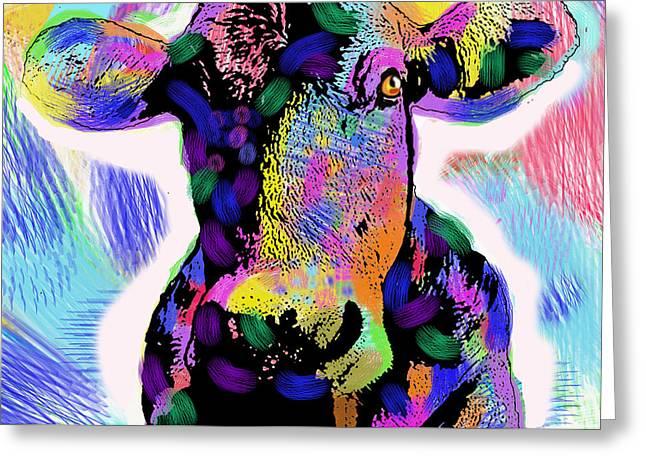 Cute Cow Greeting Card by Leon Zernitsky
