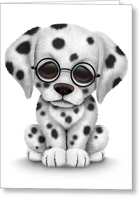Puppies Digital Greeting Cards - Cute Dalmatian Puppy Dog Wearing Eye Glasses Greeting Card by Jeff Bartels