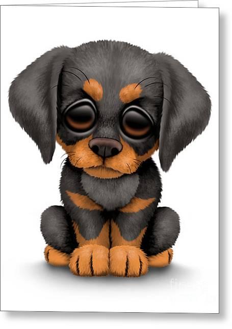 Puppies Digital Art Greeting Cards - Cute Doberman Puppy Dog Greeting Card by Jeff Bartels