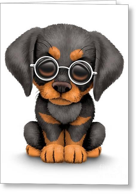 Puppies Digital Art Greeting Cards - Cute Doberman Puppy Dog Wearing Eye Glasses Greeting Card by Jeff Bartels