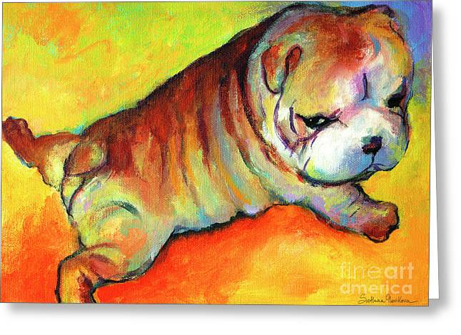 Puppies Print Greeting Cards - Cute English Bulldog puppy dog painting Greeting Card by Svetlana Novikova