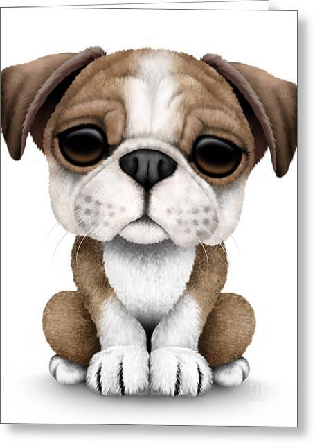 Puppies Digital Art Greeting Cards - Cute English Bulldog Puppy  Greeting Card by Jeff Bartels
