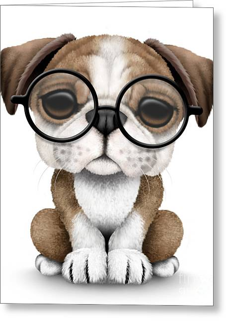 Puppies Digital Art Greeting Cards - Cute English Bulldog Puppy Wearing Glasses Greeting Card by Jeff Bartels