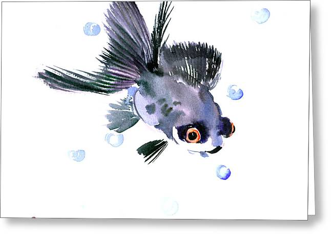 Cute Fish Greeting Card by Suren Nersisyan
