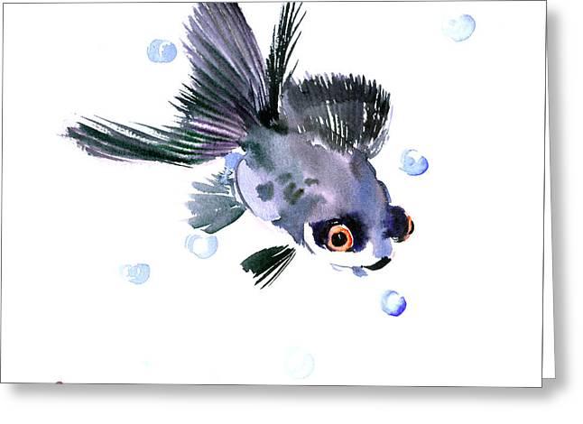 Aquarium Fish Drawings Greeting Cards - Cute Fish Greeting Card by Suren Nersisyan