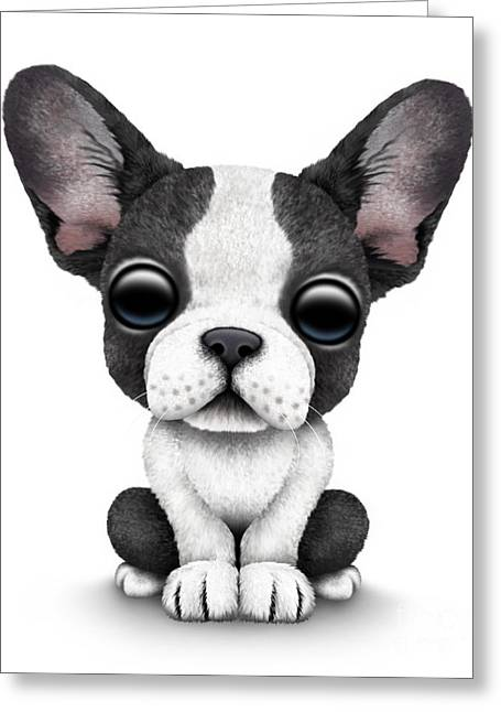 Puppies Digital Art Greeting Cards - Cute French Bulldog Puppy  Greeting Card by Jeff Bartels