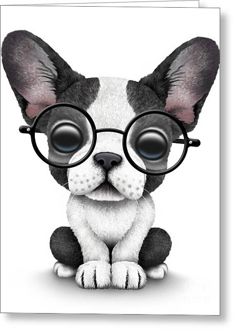 Puppies Digital Art Greeting Cards - Cute French Bulldog Puppy Wearing Glasses Greeting Card by Jeff Bartels