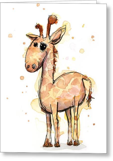 Cute Animal Cartoon Greeting Cards - Cute Giraffe  Greeting Card by Olga Shvartsur