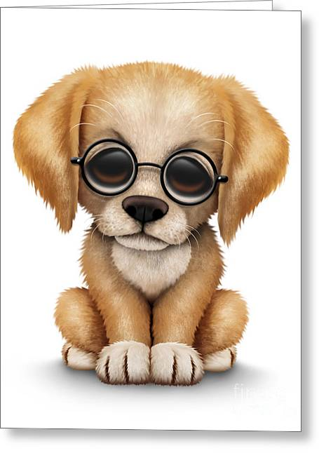 Golden Retriever Digital Greeting Cards - Cute Golden Retriever Puppy Dog Wearing Eye Glasses Greeting Card by Jeff Bartels