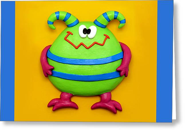 Clay Sculpture Greeting Cards - Cute Green Monster Greeting Card by Amy Vangsgard