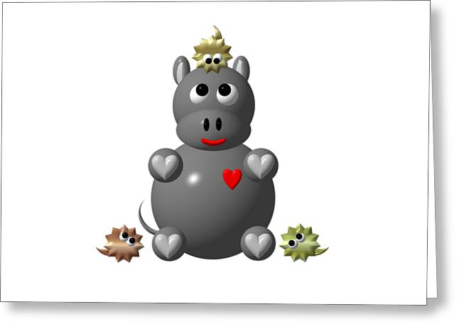 Hippopotamus Digital Greeting Cards - Cute Hippo with Hamsters Greeting Card by Rose Santuci-Sofranko