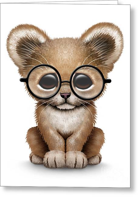 Cartoon Lion Greeting Cards - Cute Lion Cub Wearing Glasses Greeting Card by Jeff Bartels