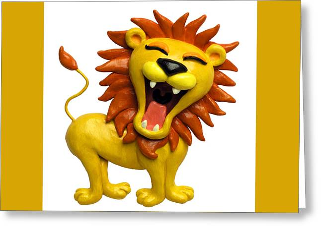 Cute Mixed Media Greeting Cards - Cute Lion Roaring Greeting Card by Amy Vangsgard