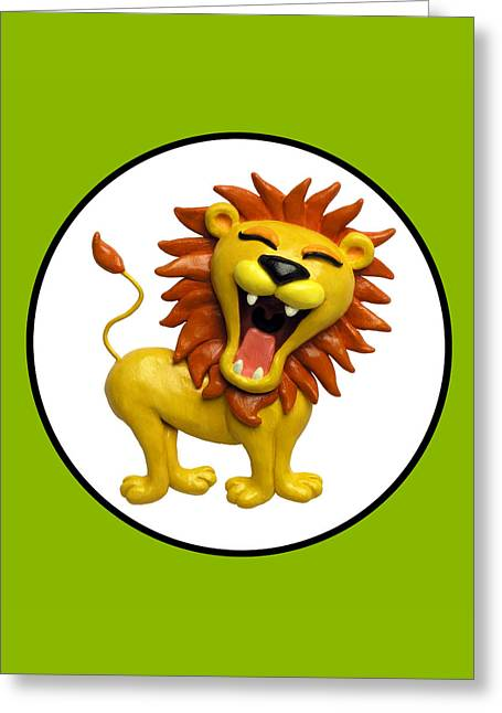 Book Cover Art Greeting Cards - Cute Lion Roaring Circle Greeting Card by Amy Vangsgard